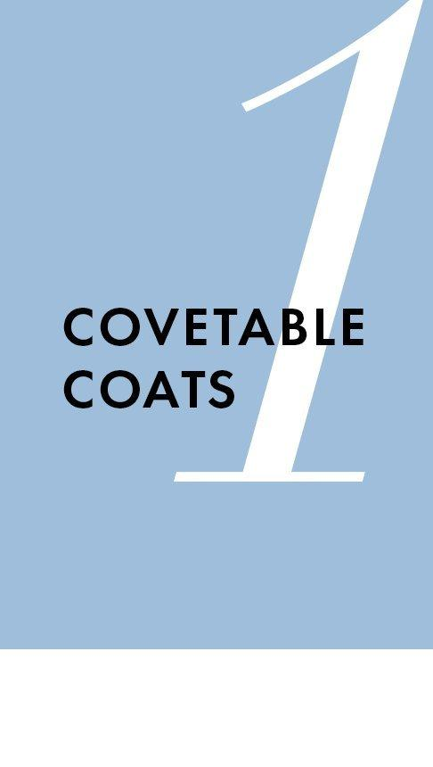 black text on a periwinkle background: covetable coats.