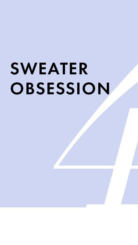 black text on a light purple background: sweater obsession.