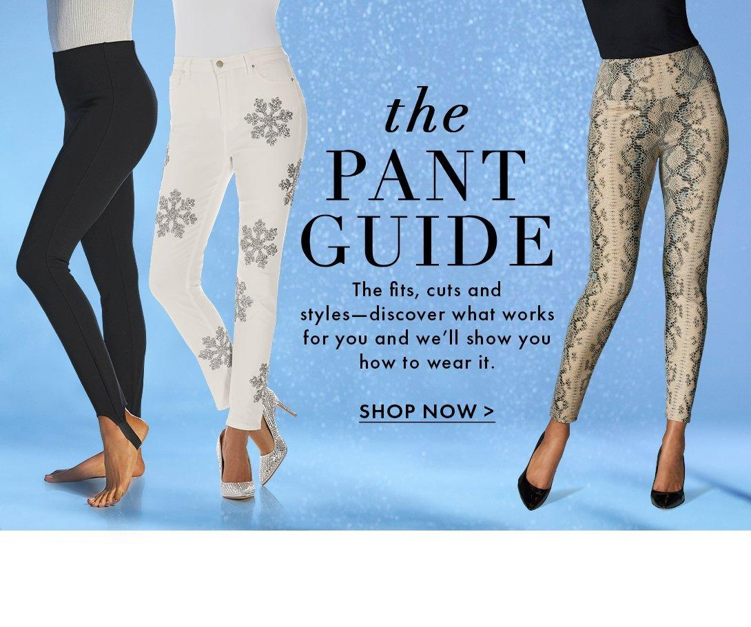 left model wearing black stirrup leggings. middle model wearing white jeans with silver snowflake embellishments. right model wearing off-white snake print faux-leather leggings.