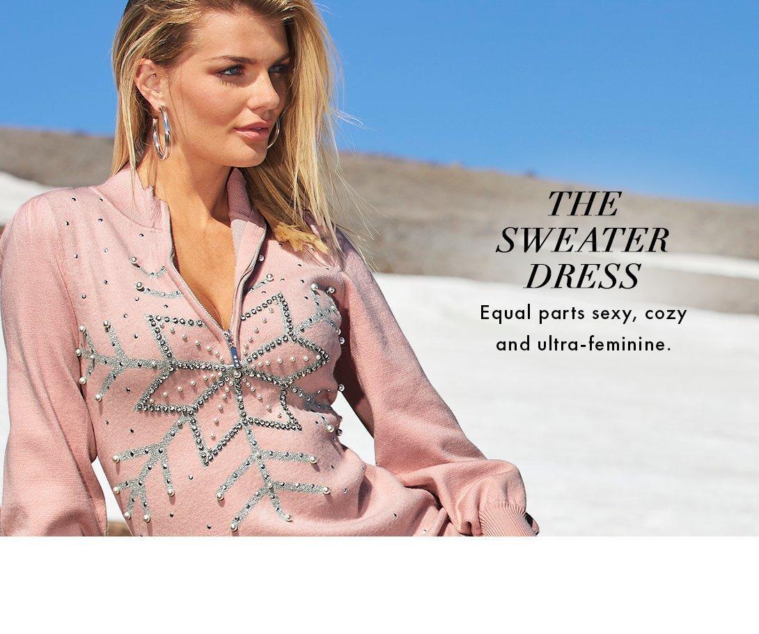 model wearing a light pink long-sleeve rhinestone embellished snowflake dress.