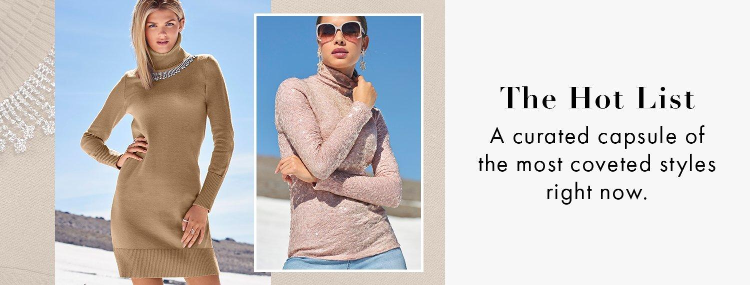 left model wearing a tan turtleneck long-sleeve rhinestone embellished sweater dress. right model wearing a light pink sequin embellished long-sleeve turtleneck top and jeans.