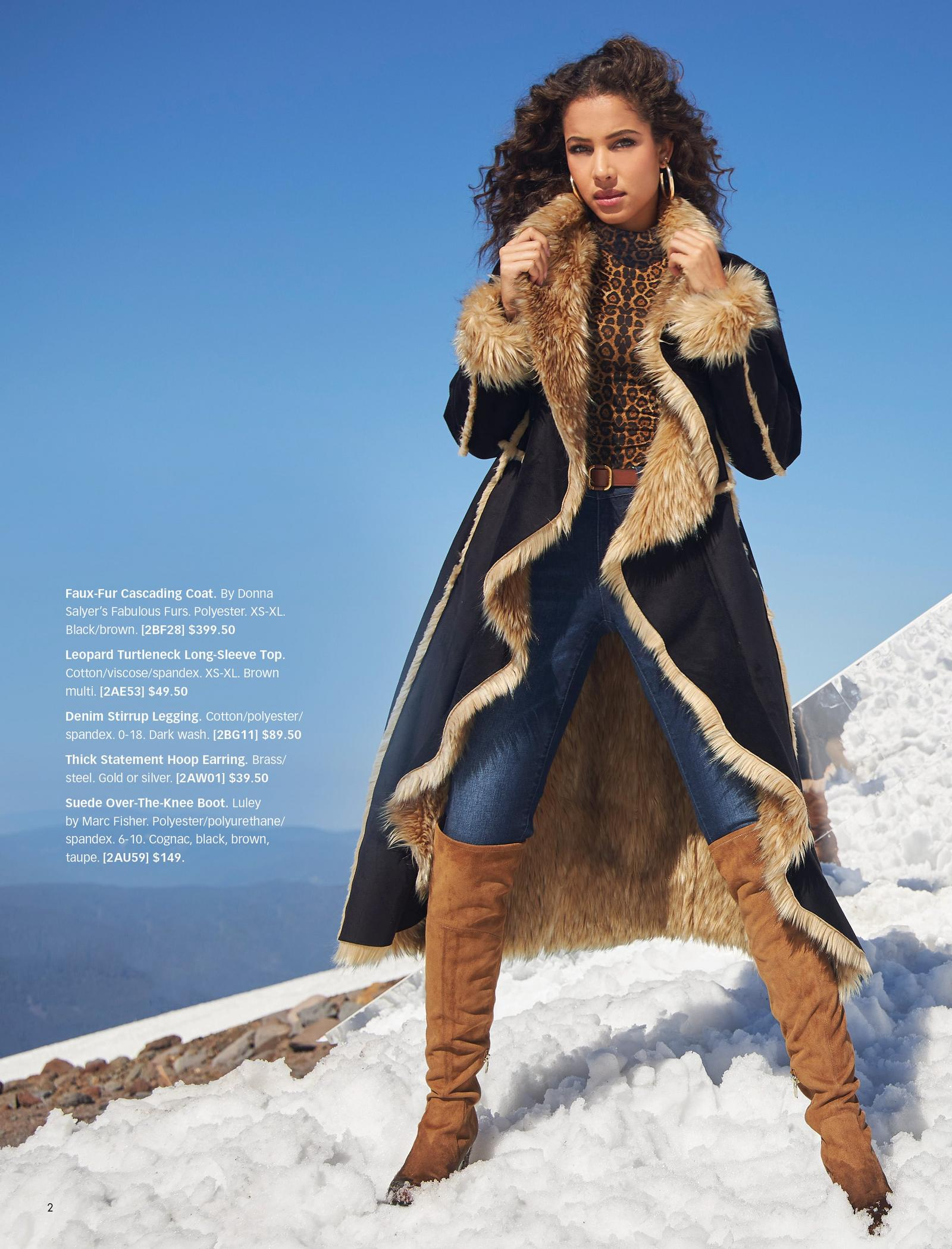 model wearing a long black cascading coat with tan faux fur, an animal print turtleneck long-sleeve top, jeans, and over-the-knee suede boots in tan.