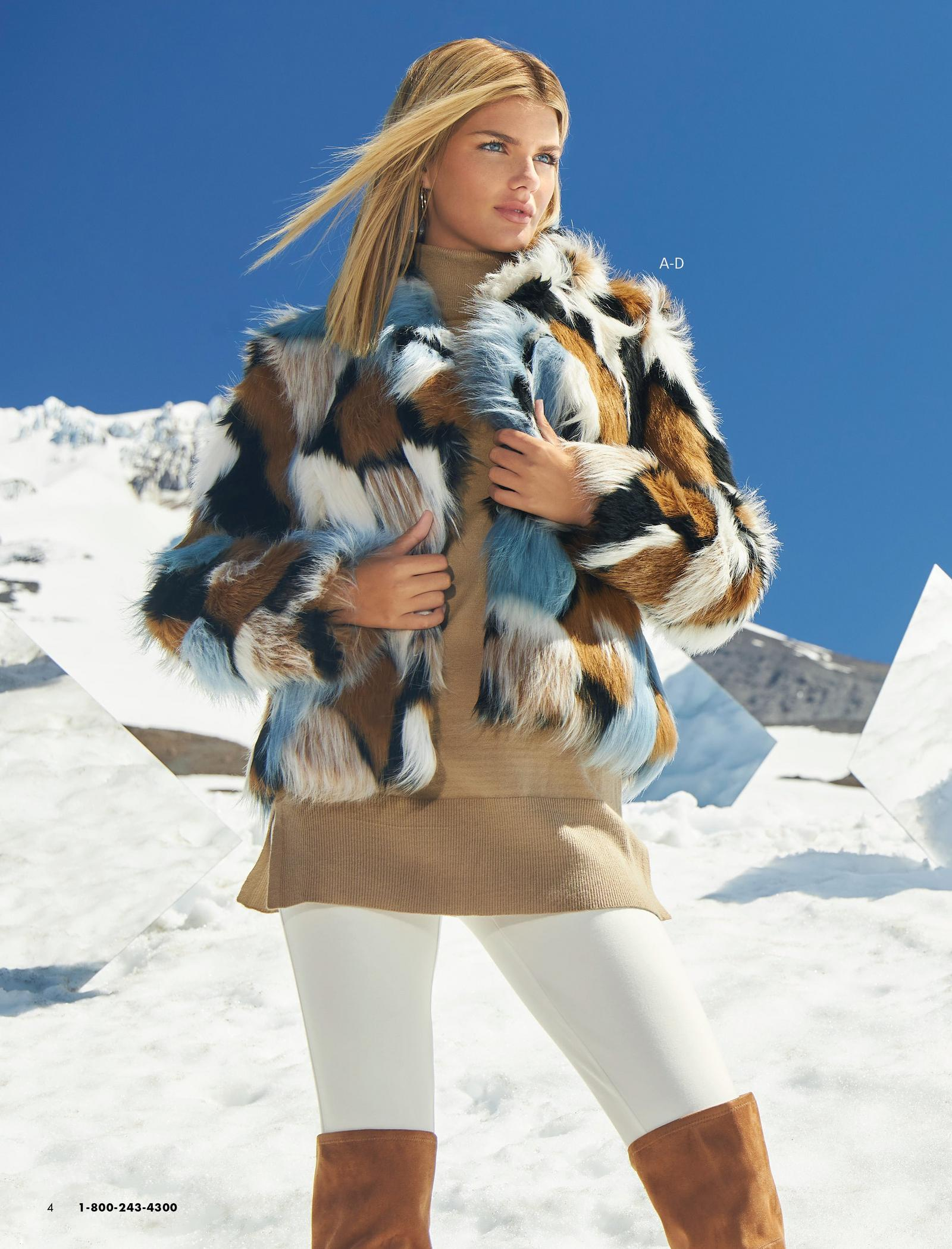 model wearing a multicolored faux-fur chubby jacket, tan turtleneck sweater, off-white leggings, and over-the-knee brown suede boots.