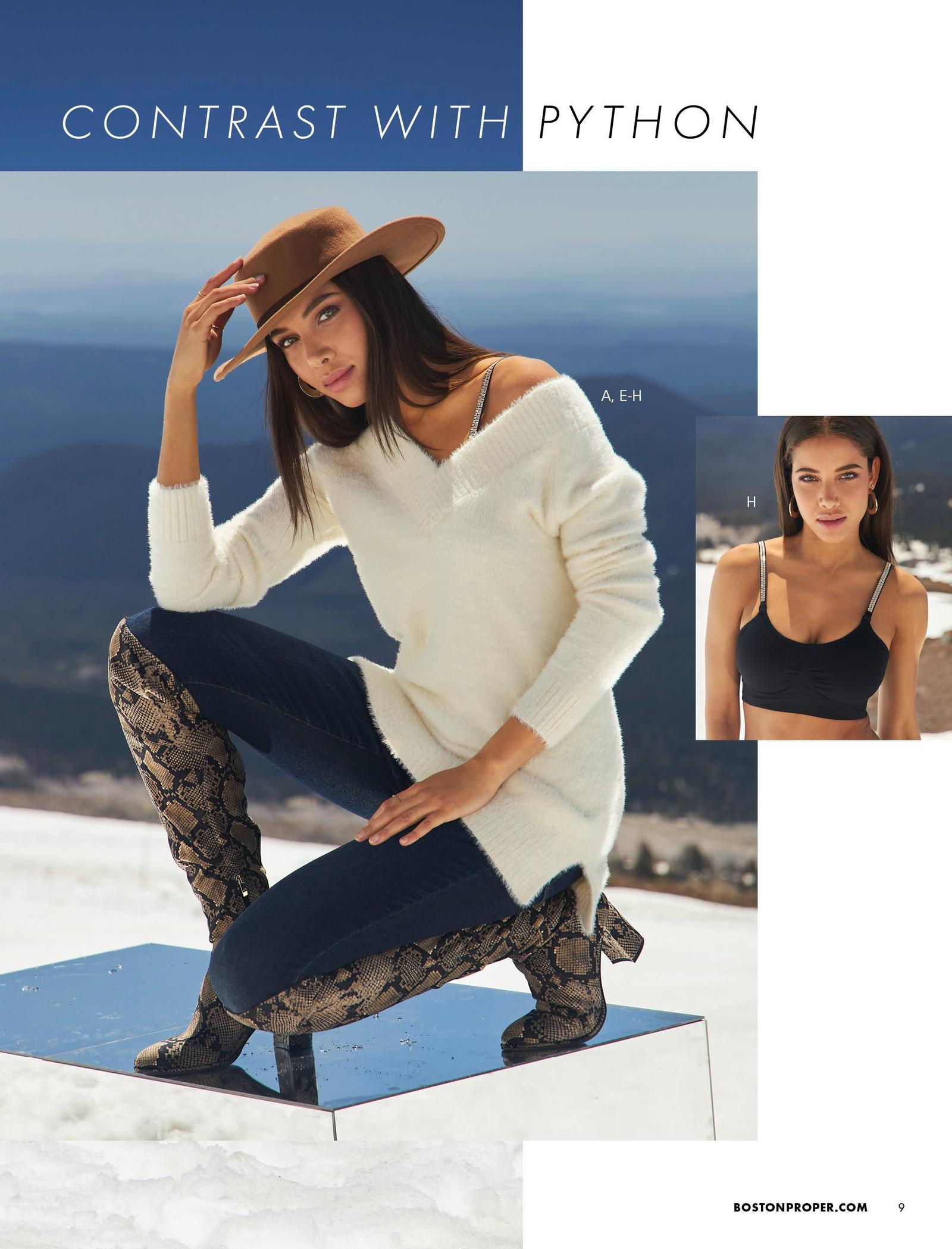left model wearing an off-white plush v-neck sweater, jeans, python print over-the-knee boots, and brown felt hat. right model wearing a black bralette with rhinestone studded straps.