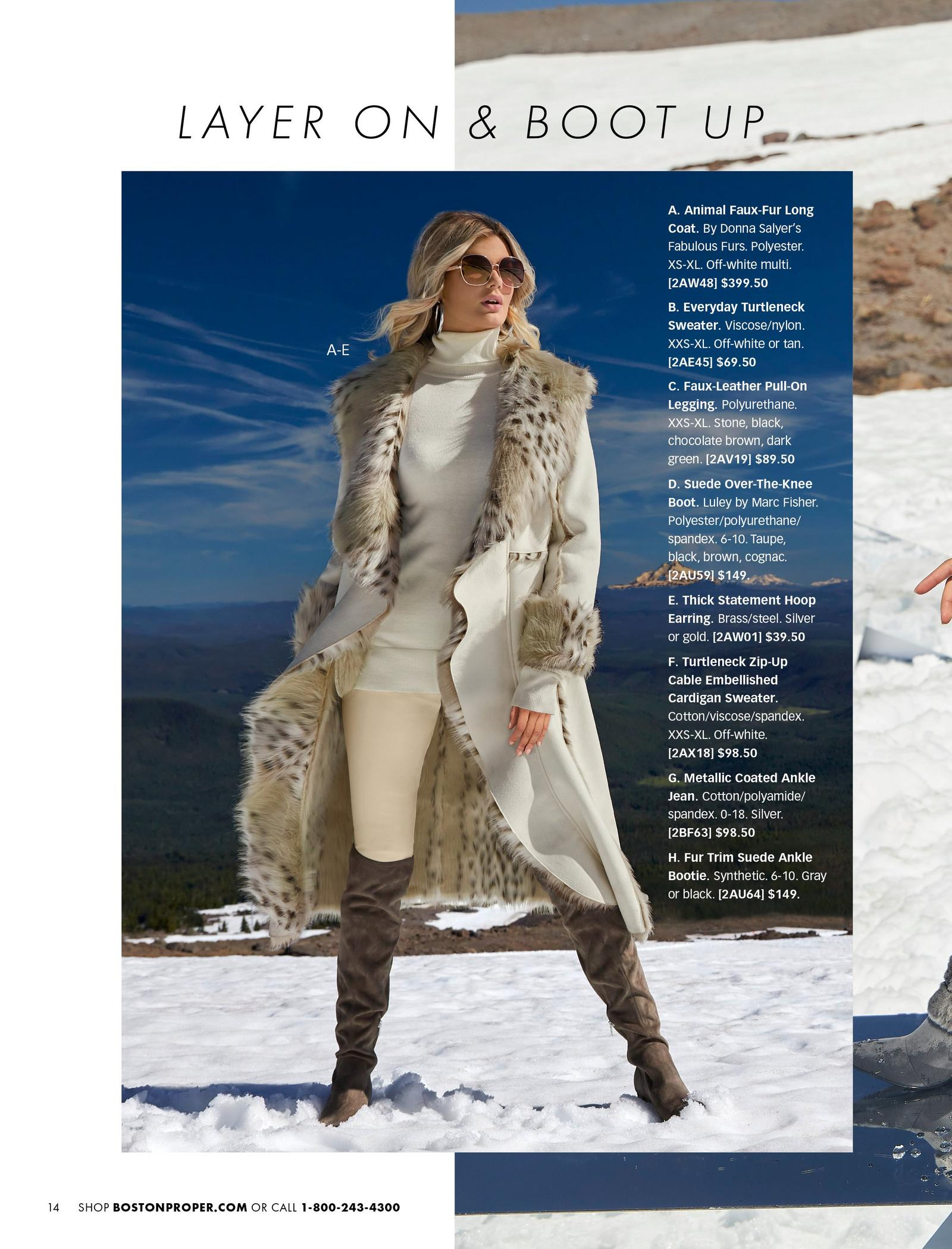 model wearing an off-white long cascading coat with animal print faux-fur, white turtleneck sweater, white faux-leather leggings, silver hoop earrings, and taupe over-the-knee suede boots.