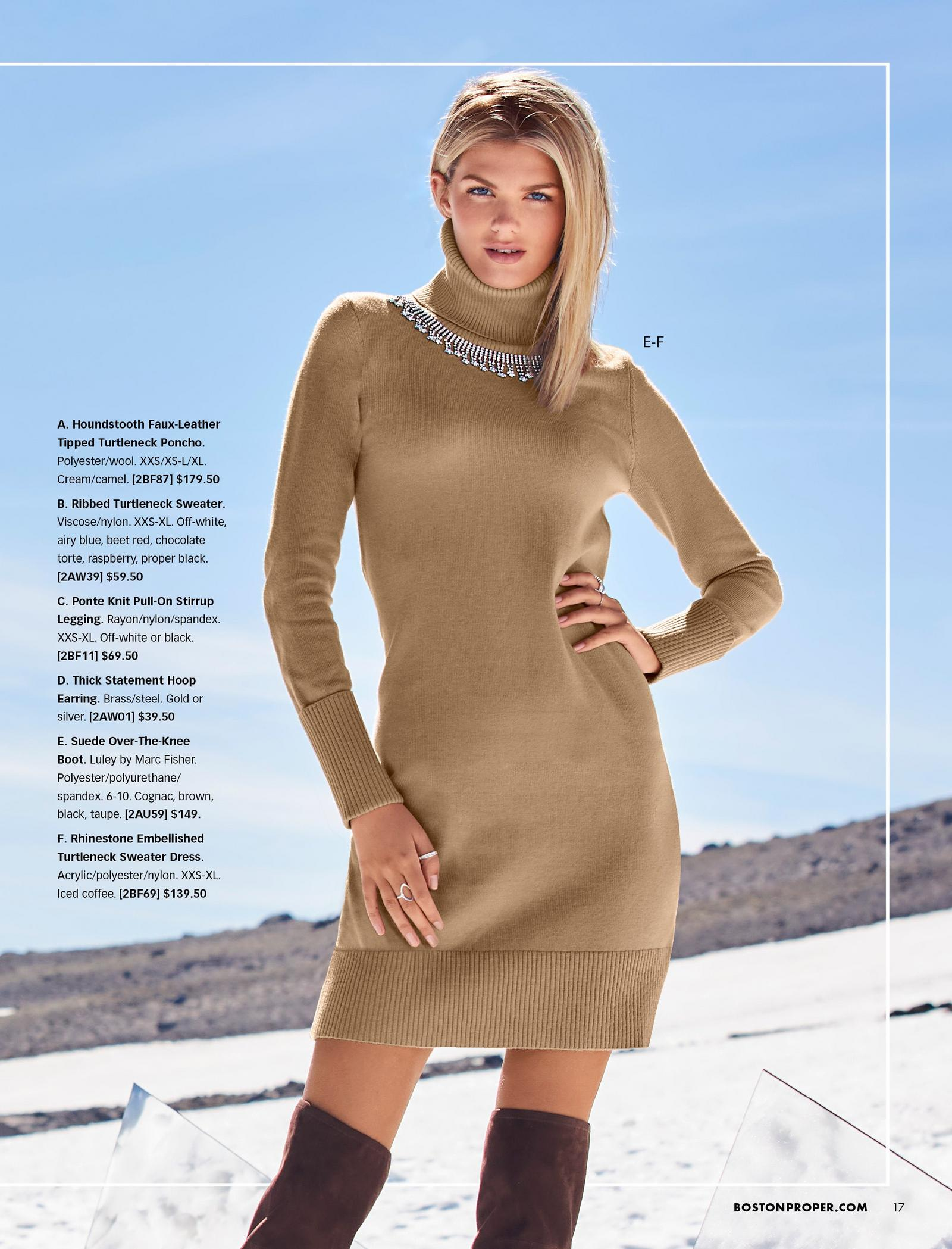 model wearing a tan turtleneck long-sleeve sweater dress with rhinestone embellishments by the collar and brown over-the-knee suede boots.