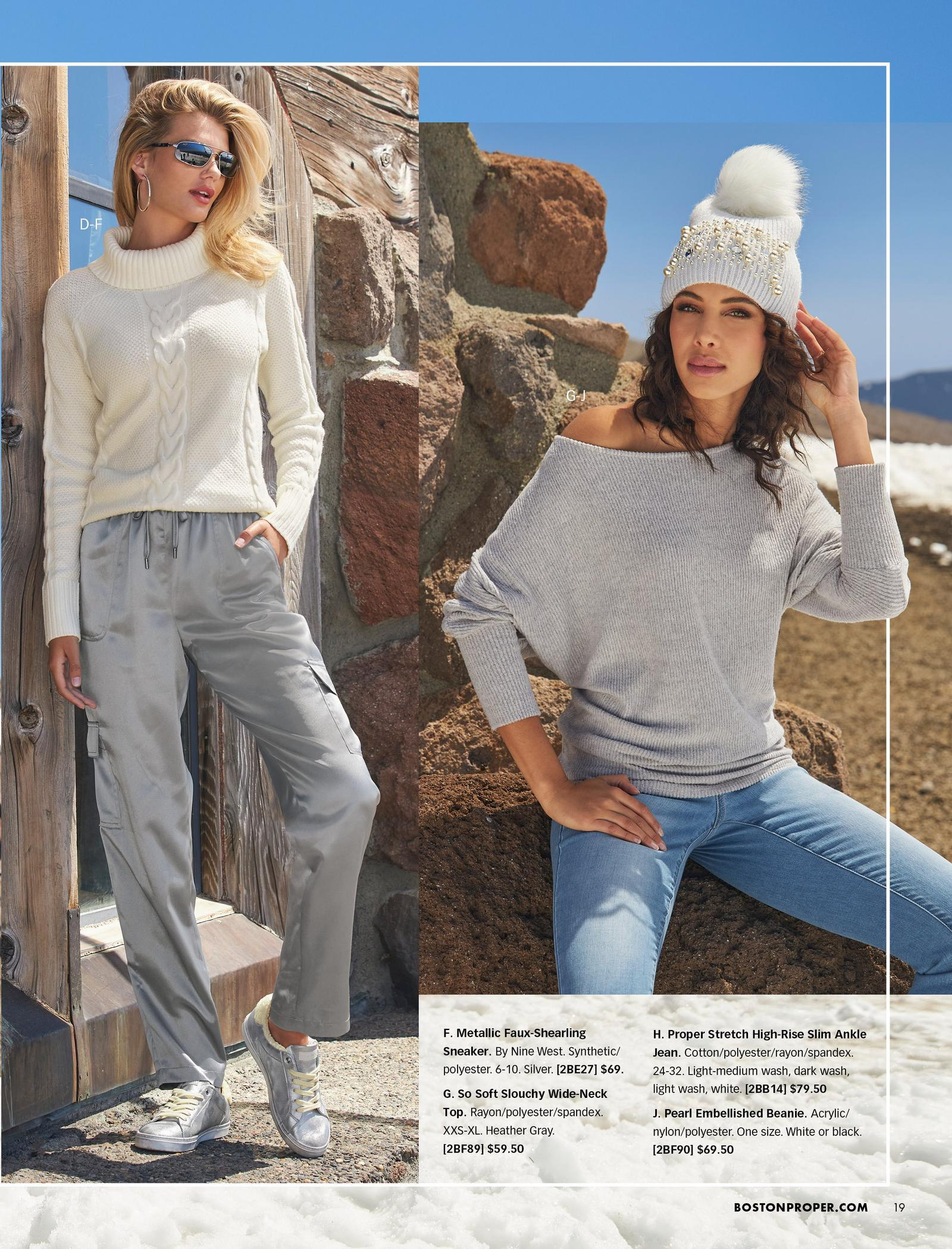 left model wearing a white cable knit turtleneck sweater, silver charmeuse cargo pants, and silver faux-shearling sneakers. right model wearing a gray slouchy wide-neck top, light wash jeans, and a gray pearl embellished beanie with a white faux-fur pom-pom.