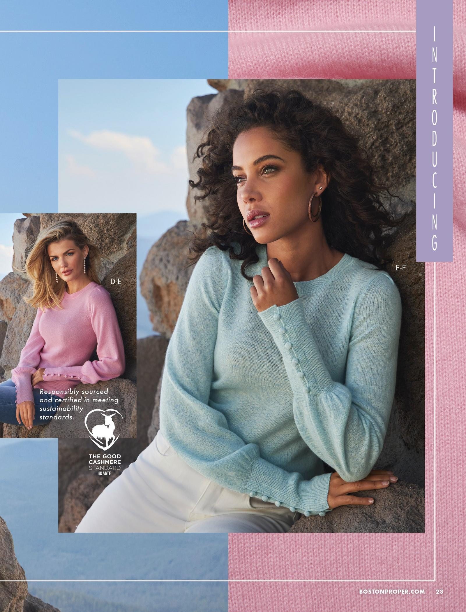 left model wearing a pink button-cuff puff-sleeve cashmere sweater, jeans, and pearl strand earrings. right model wearing the same sweater in blue and white jeans.