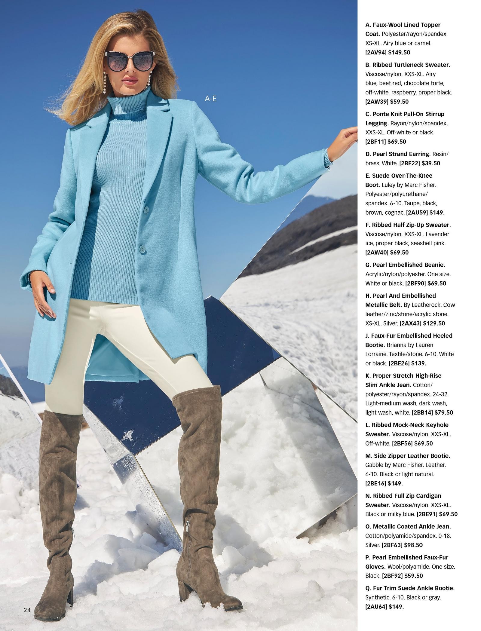 model wearing a light blue faux-wool topper coat, light blue ribbed turtleneck sweater, off-white leggings, pearl strand earrings, and taupe over-the-knee boots.