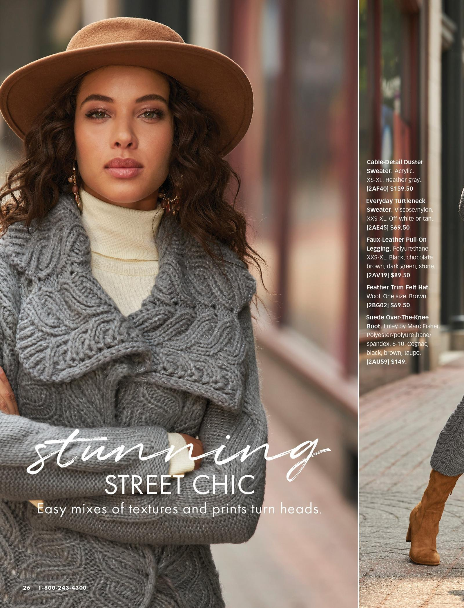 model wearing a gray cable-detail long duster sweater, off-white turtleneck sweater, and brown felt hat.