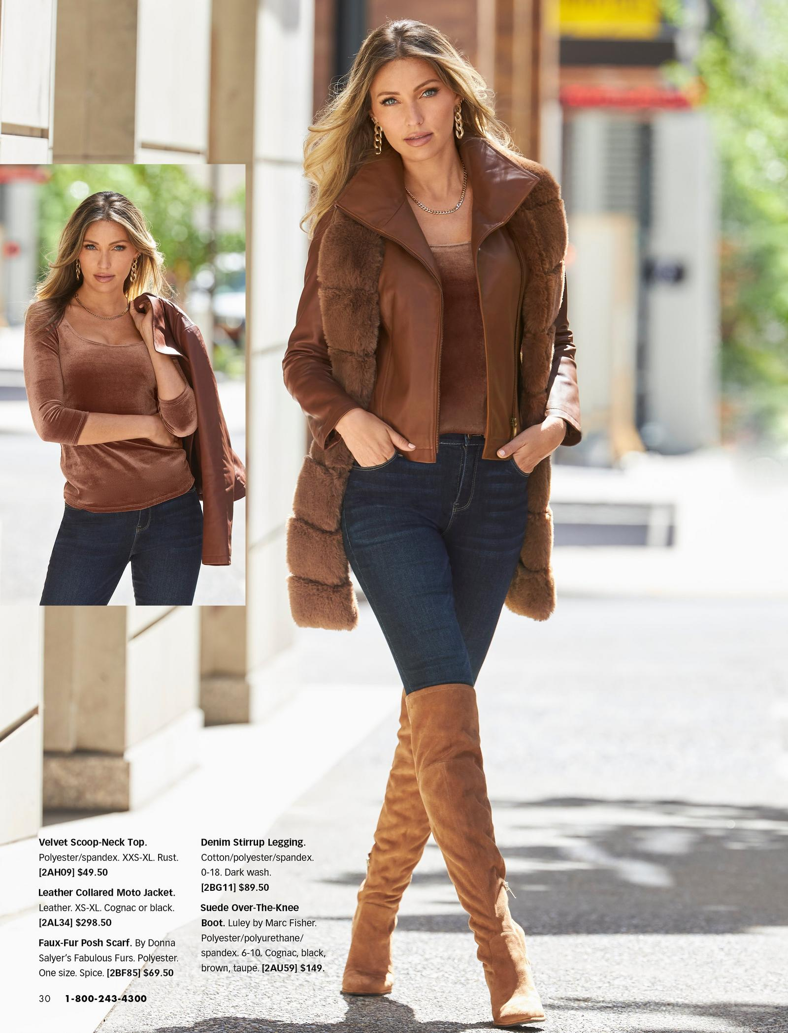 left model wearing a brown velvet scoop-neck three-quarter sleeve top and jeans while holding a brown leather jacket. right model wearing a brown velvet scoop-neck three-quarter sleeve top, brown leather collared moto jacket, faux-fur brown scarf, jeans, and over-the-knee brown suede boots.