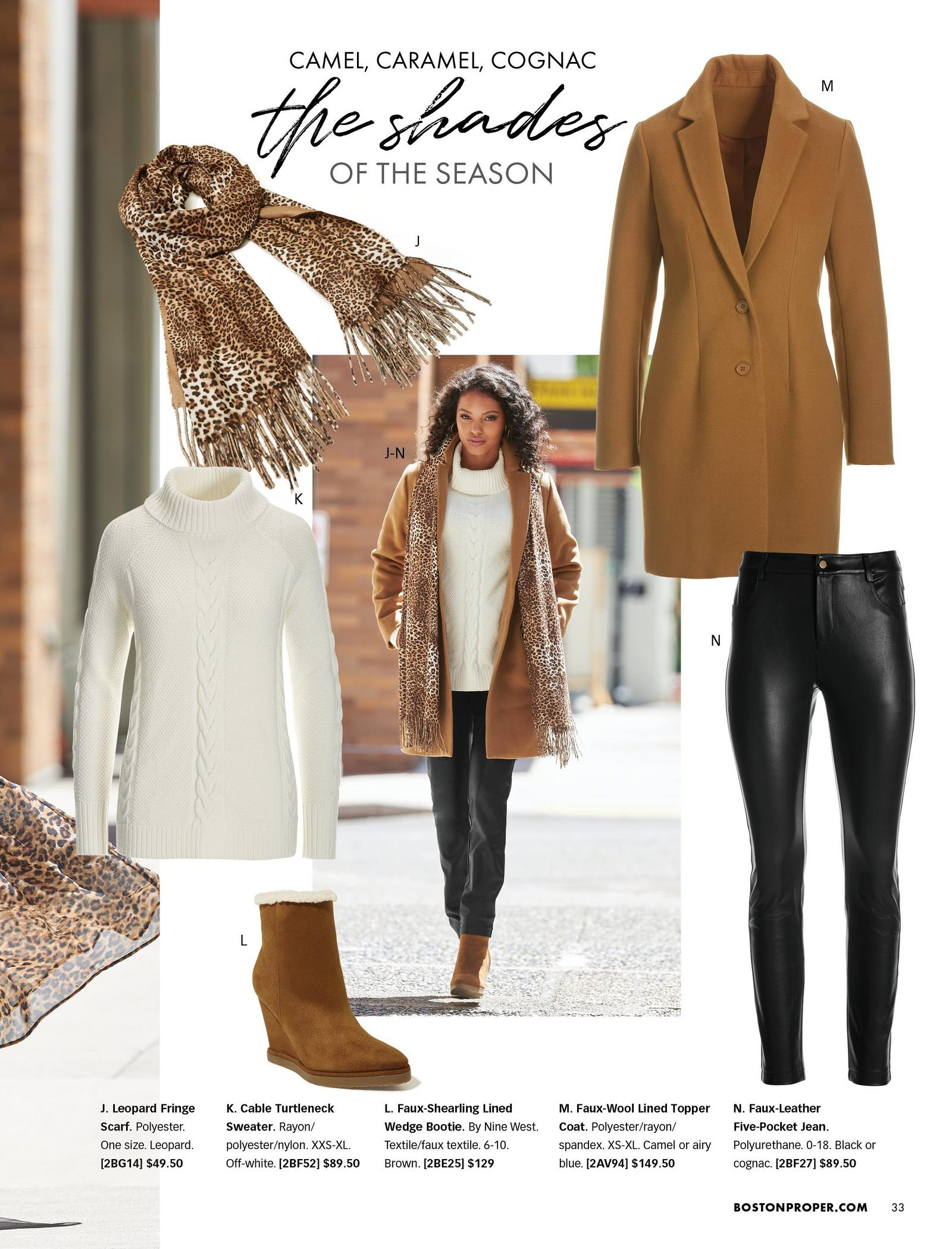 model wearing a camel colored faux-wool topper coat, black faux-leather jeans, leopard fringe scarf, white cable knit turtleneck sweater, and grown faux-shearling lined wedge bootie. all items shown separate around the model shot.