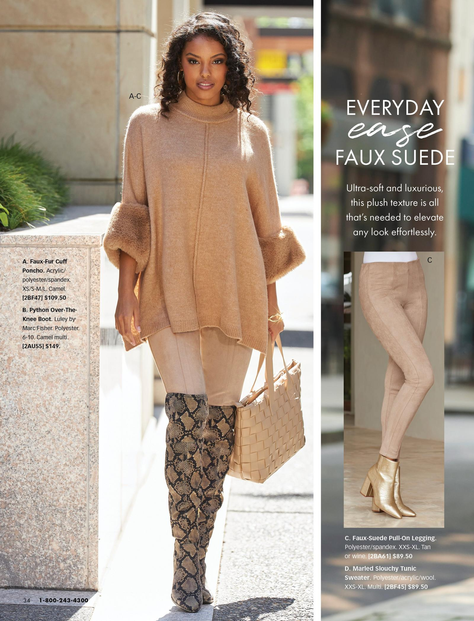model wearing a camel colored faux-fur cuff poncho, tan faux-suede leggings, and over-the-knee python print boots. also shown: the suede leggings.