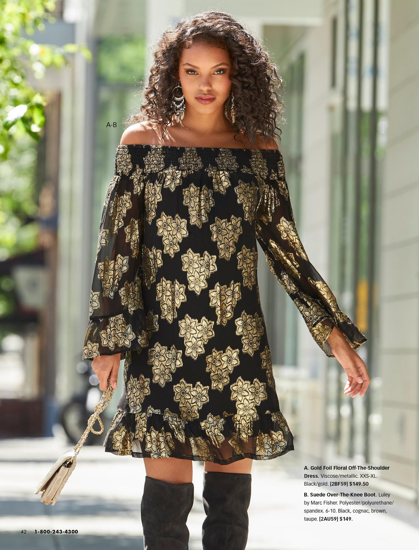 model wearing a black and gold foil floral print off-the-shoulder long sleeve dress and black over-the-knee suede boots.