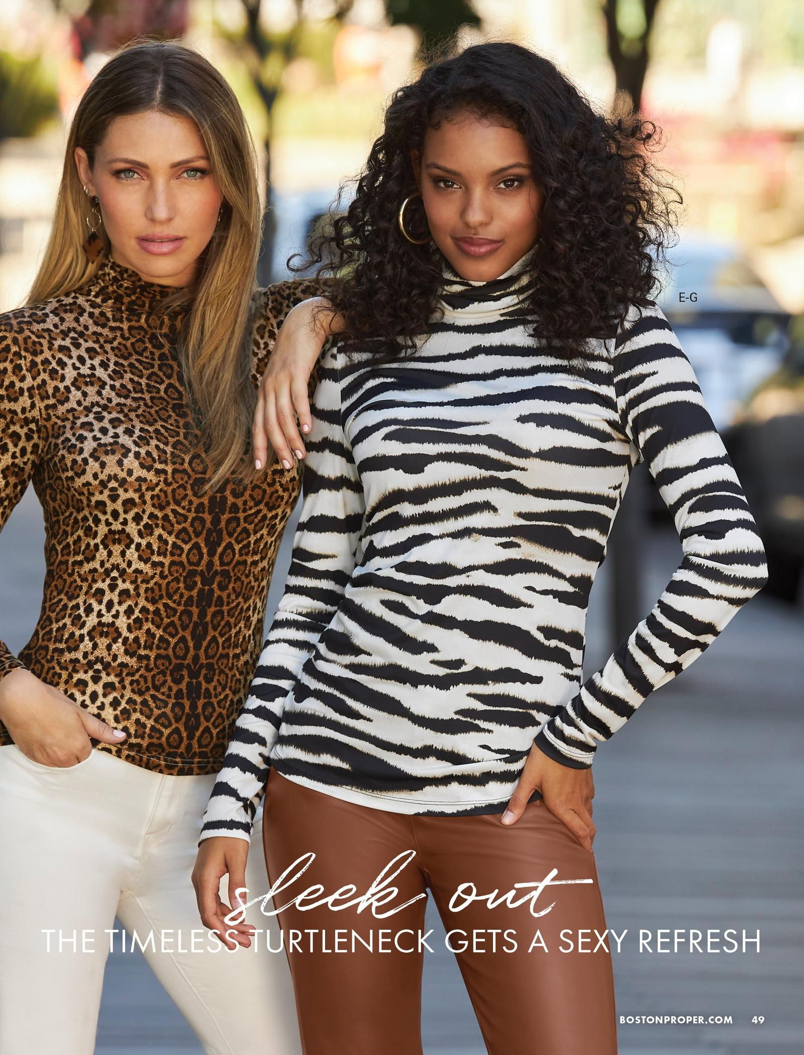 left model wearing a brown leopard print turtleneck long-sleeve top and white bootcut jeans. right model wearing a black and white zebra print turtleneck long-sleeve top and brown faux-leather jeans.