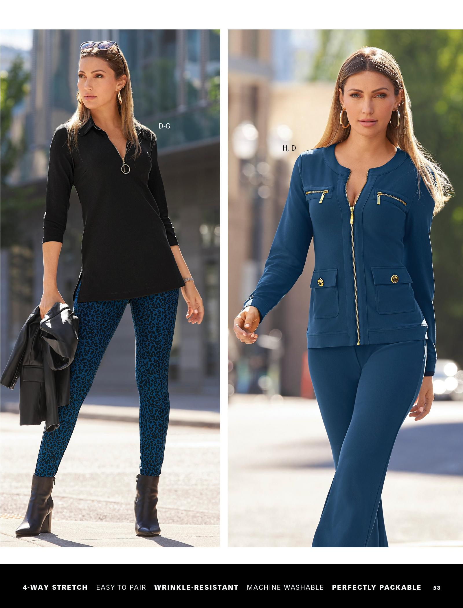 left model wearing a black collared ring detail zip-front tunic, blue animal print leggings, black leather booties, gold hoop earrings, and holding a black leather jacket. right model wearing a navy two-piece jacket and pant set and gold hoop earrings.