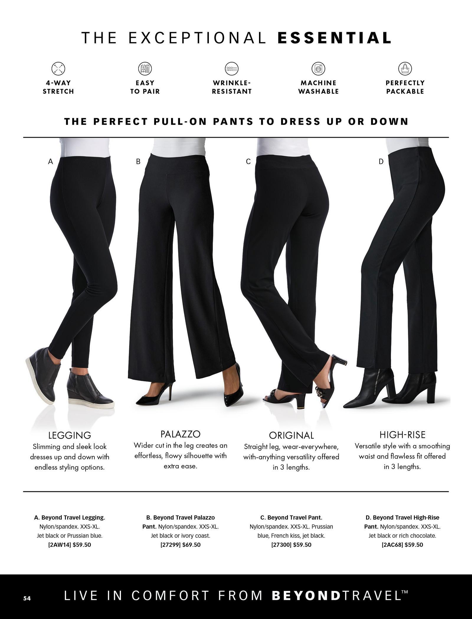 from left to right: black leggings, black palazzo pants, black straight leg pants, black high-waisted straight leg pants.