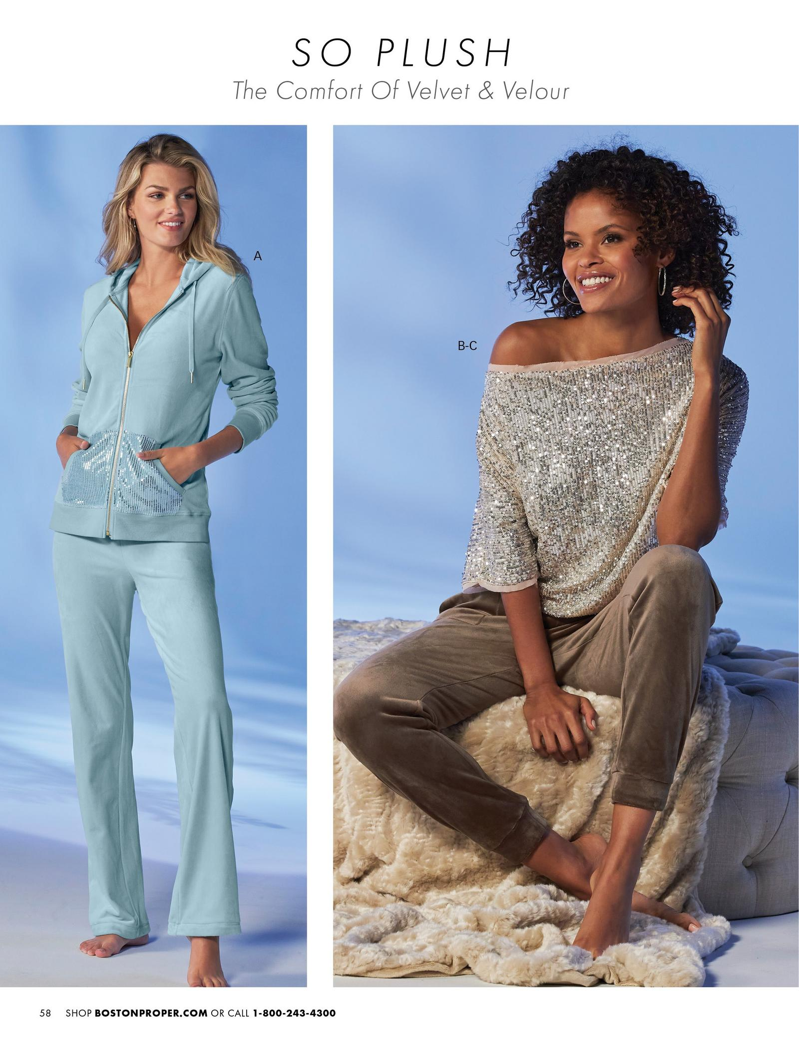 left model wearing a light blue sequin velour two-piece lounge set. right model wearing a champagne color sequin embellished slouchy top and taupe velour joggers.