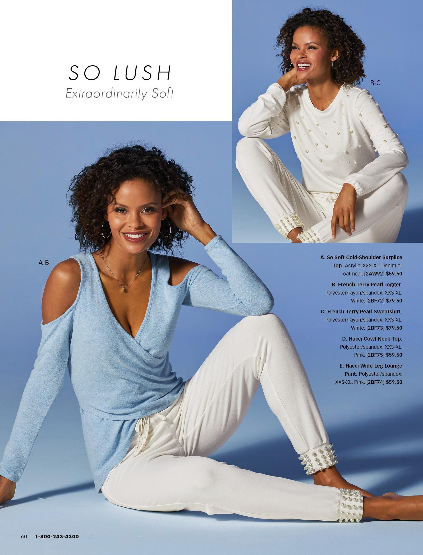 left model wearing a light blue cold-shoulder surplice top and white french terry pearl embellished jogger.