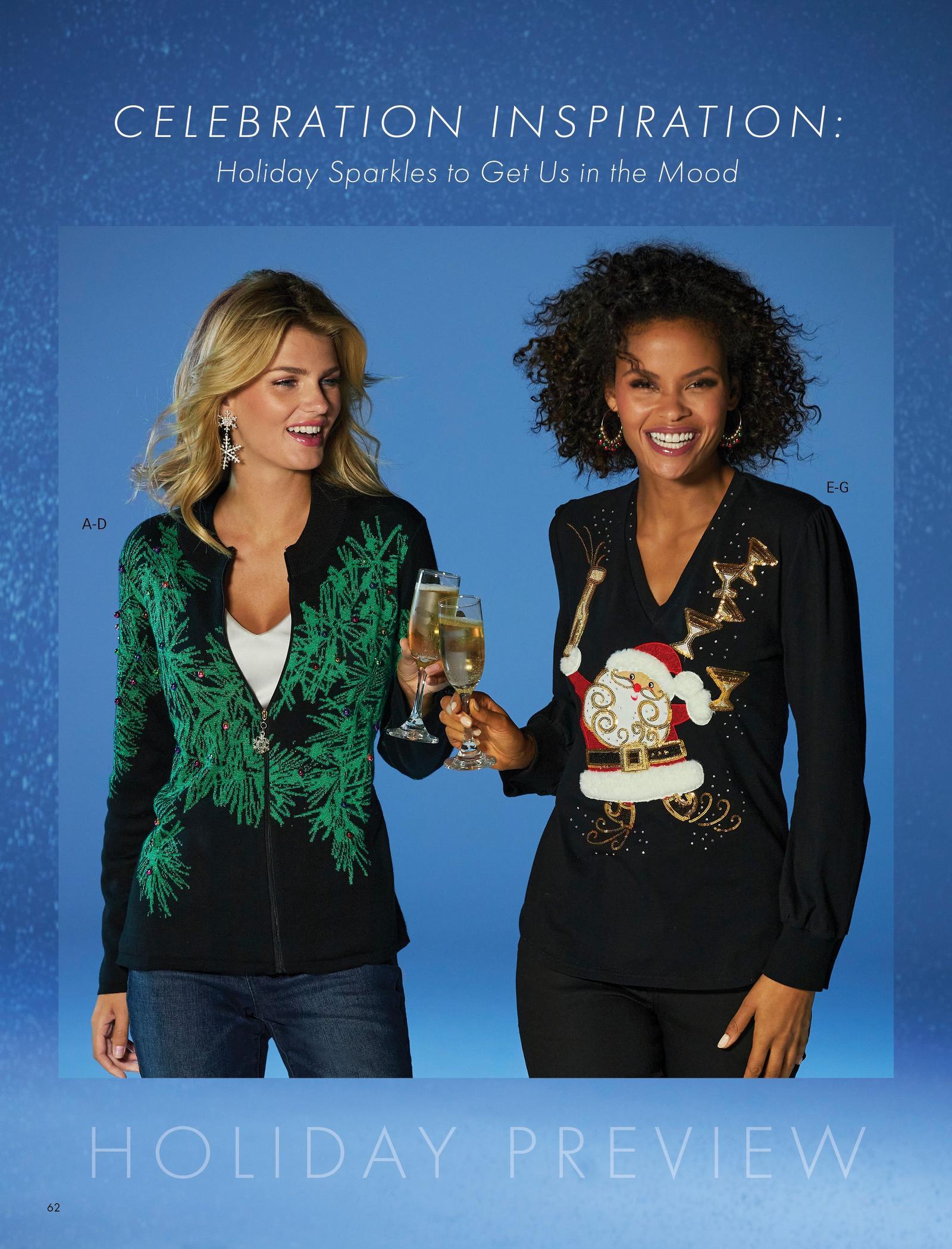left model wearing a festive tree zip-up cardigan sweater, white v-neck top, jeans, and snowflake earrings. right model wearing a black long-sleeve santa puff-sleeve tee, black jeans, and jingle bell hoop earrings.