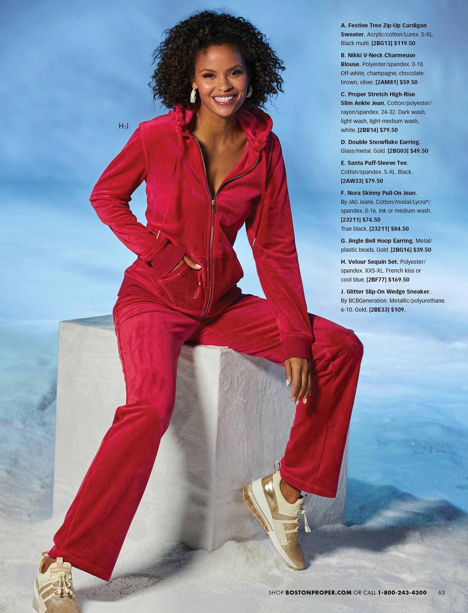model wearing a red velour sequin lounge set and gold glitter wedge sneakers.
