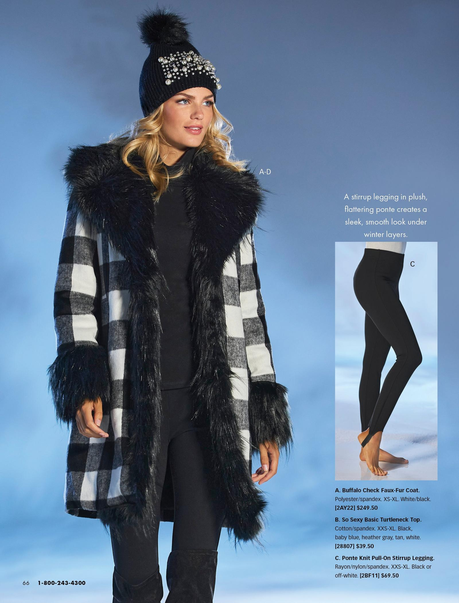 model wearing a black and white buffalo check faux-fur coat, black turtleneck top, black leggings, black pearl embellished beanie, and black over-the-knee suede boots. also shown: the black stirrup leggings.