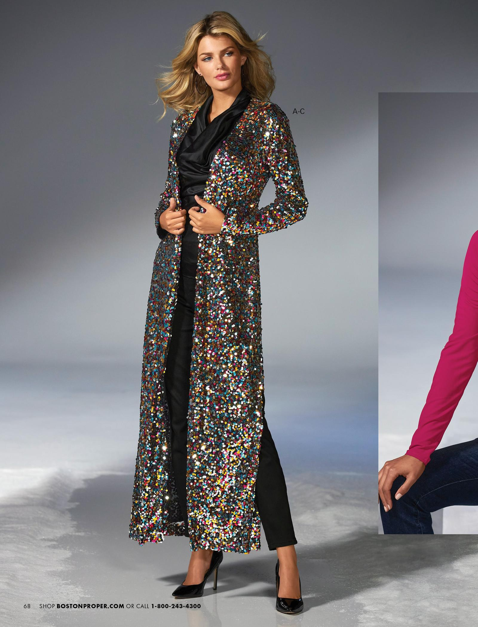 model wearing a multicolored sequin long duster, black cowl neck top, and black jeans.