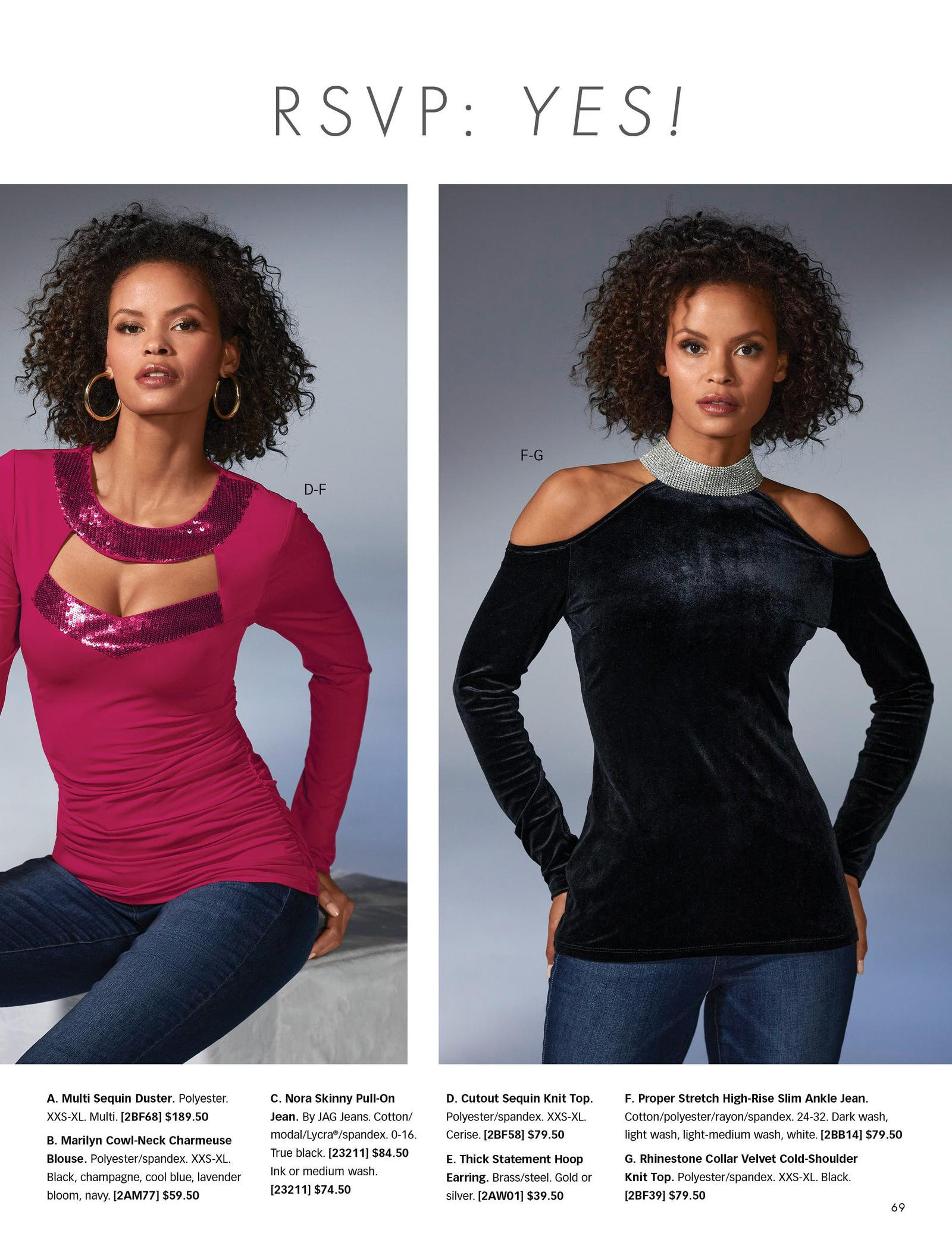 left model wearing a wine colored cutout long-sleeve top with sequin embellishments and jeans. right model wearing a black velvet cold-shoulder long-sleeve top with a rhinestone mock-neck and jeans.