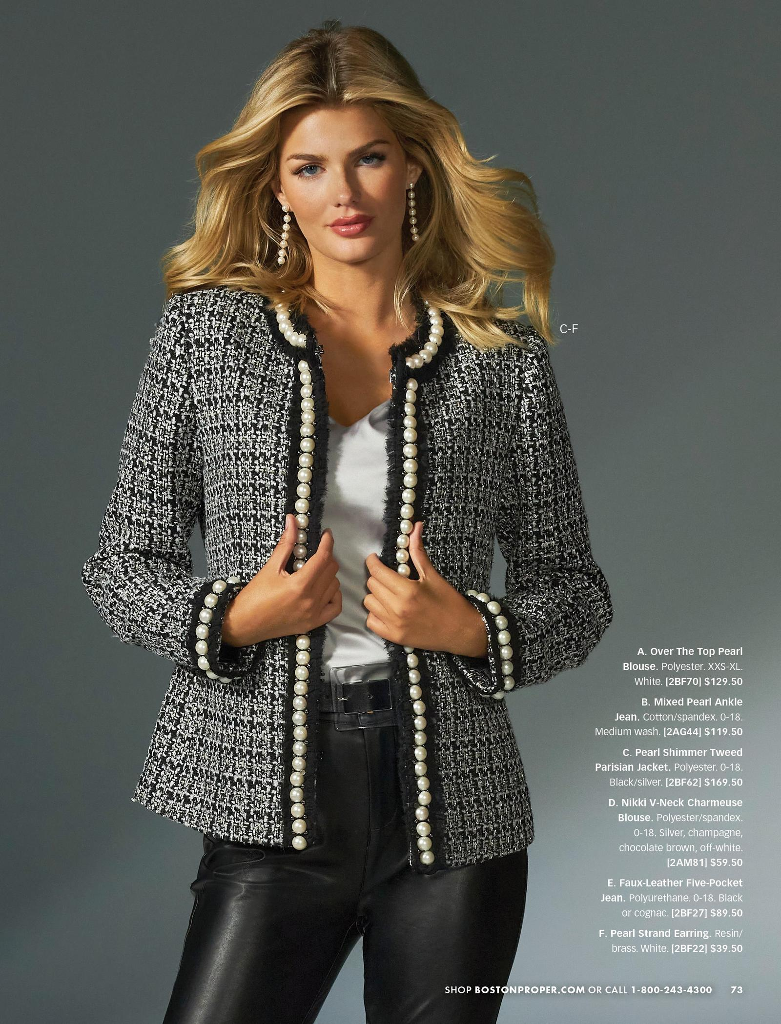 model wearing a black and silver pearl shimmer tweed jacket, silver v-neck top, black belt, black faux-leather jeans, and pearl strand earrings.