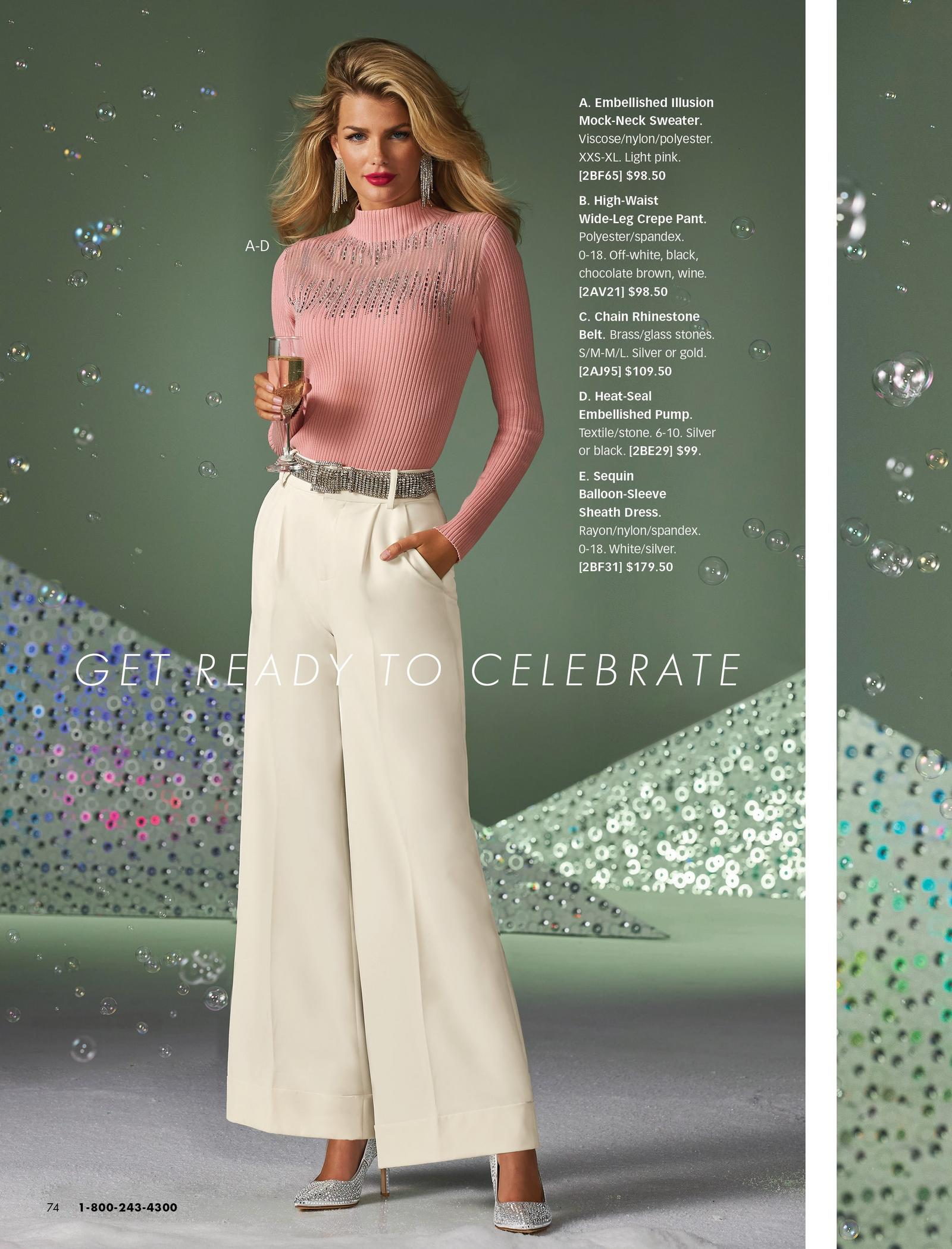 model wearing a pink embellished illusion mock-neck sweater, white wide-leg crepe pants, silver chain belt, and rhinestone embellished pumps.