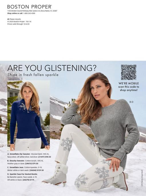 left model wearing a blue quarter zip sweater with a rhinestone snowflake embellishment. right model wearing a gray off-the-shoulder ribbed sweater, white jeans with rhinestone snowflakes, and white faux fur sparkly lace-up boots.