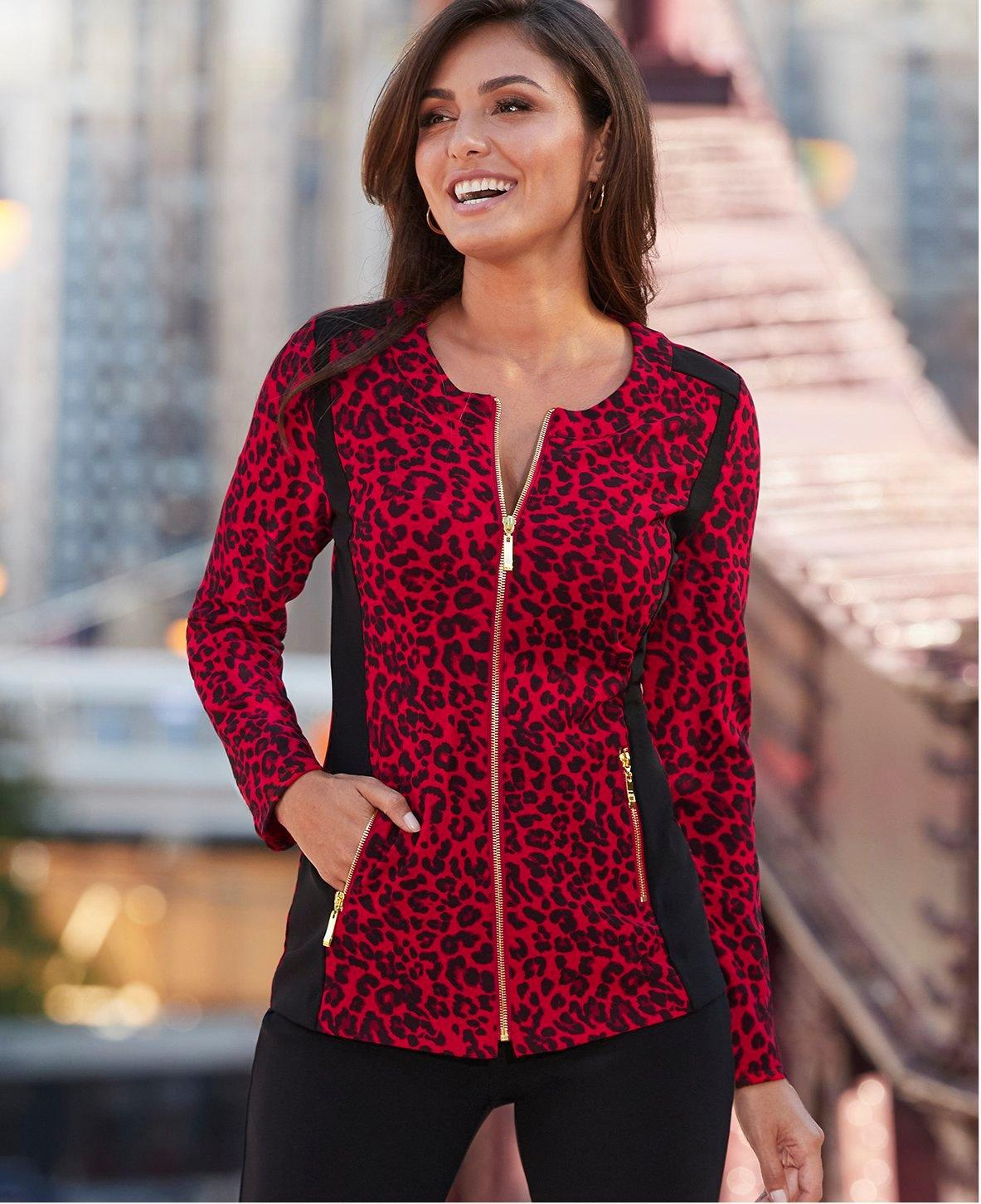 model wearing a red leopard print two-piece chic zip set.