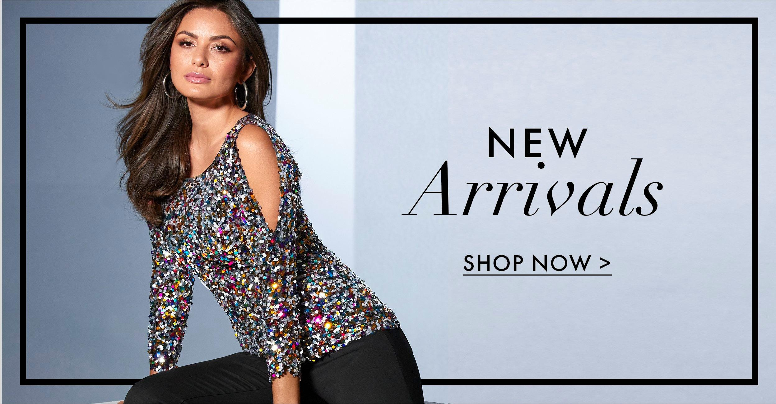 model wearing a multicolored sequin long-sleeve cold shoulder top. text: new arrivals. shop now.