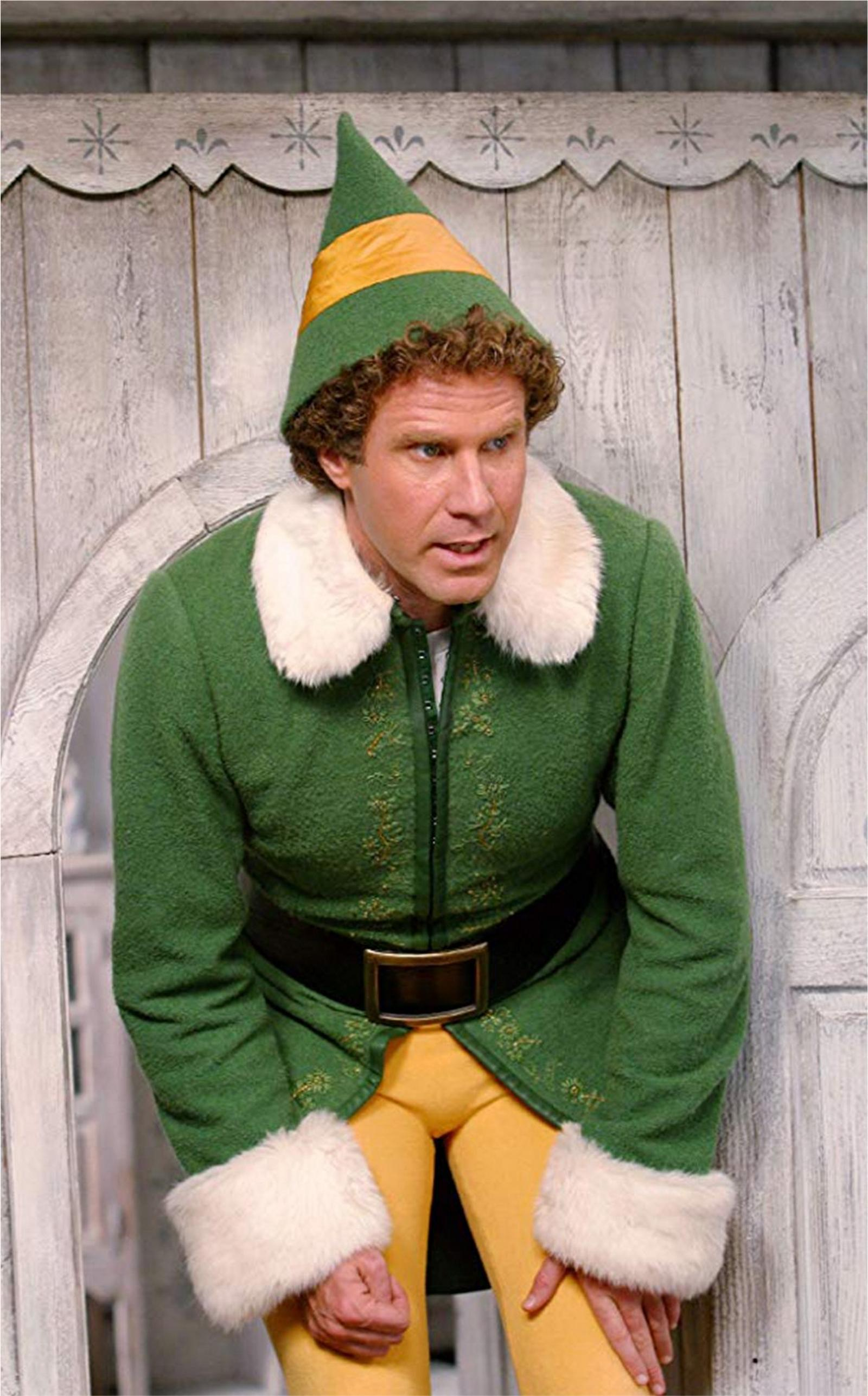 will ferrel in the movie, the elf, wearing an elf costume