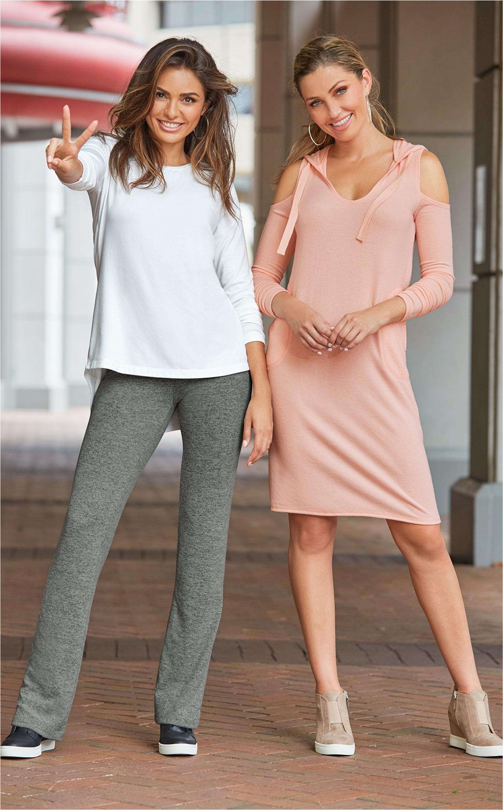 left: white sweater over gray yoga pants. right: blush cold shoulder sport dress with hood.