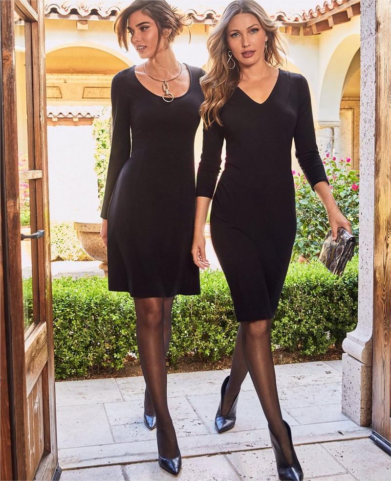 left model wearing a scoop neck black ponte dress. right model wearing a v-neck black ponte dress.
