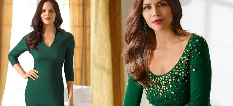 left text: color crush ever greens. right: left model wearing green sheath dress, right model wearing green sweater with gold sequin embellishment.