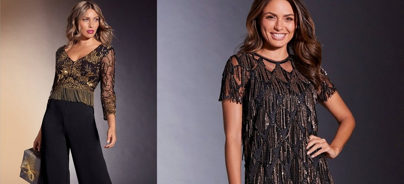 left text: trend to try sparkle & shine. right: left model wearing black jumpsuit with gold embellishment from the waist up, right model wearing black illusion top with gold fringe embellishments.