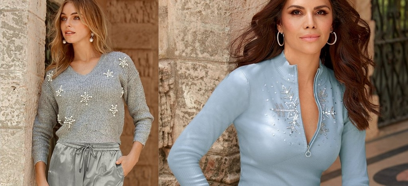 left text: trend to try let it snow. right: left model wearing cropped gray sweater with snowflake embellishments and metallic silver cargo pants, right model wearing light blue quarter zip sweater with snowflake embellishment.