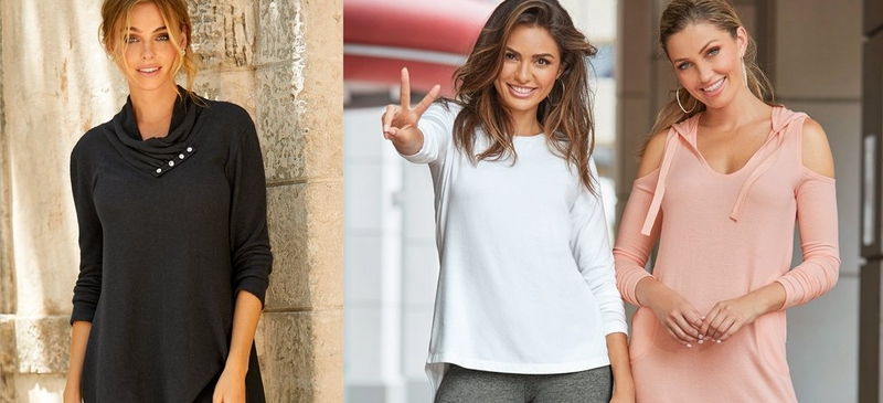 left text: so soft softness you have to feel to believe. right: left model wearing cowl neck black tunic sweater, middle model wearing white sweater while holding up the peace sign, right model wearing blush cold shoulder hooded dress.