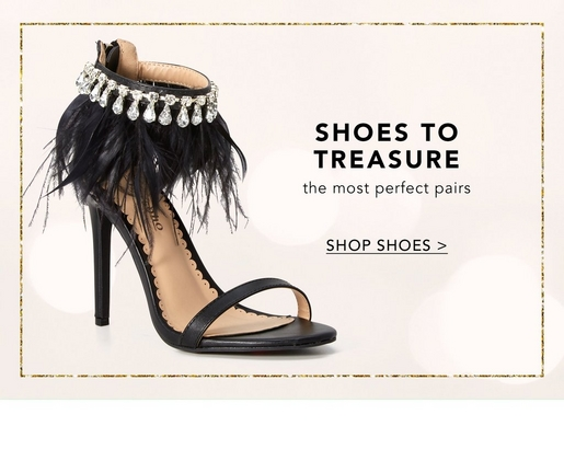 black heel with feather and jewel lined ankle