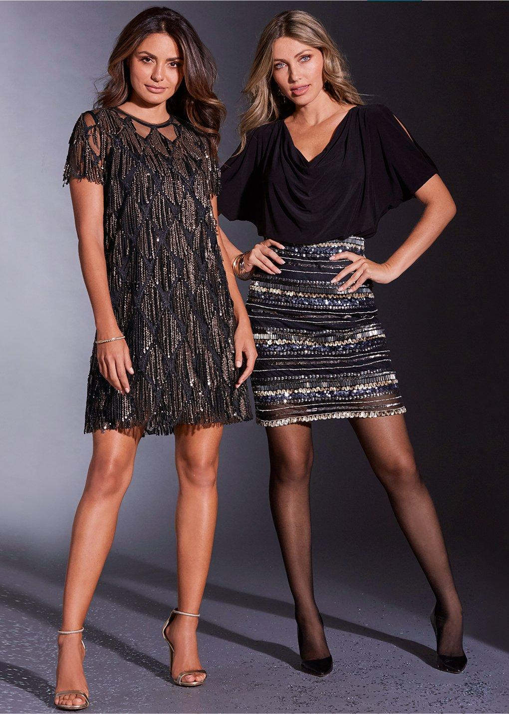 left:model wearing black dress with gold fringe. right: model wearing dress with black top and sequined bottom