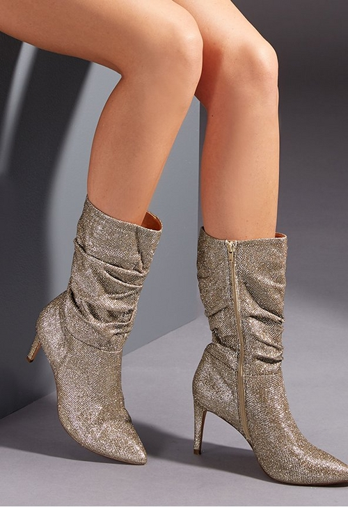 sparkly mid-calf slouchy boots