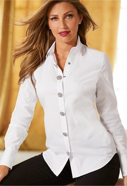 model wearing white button up shirt with jewel embellished buttons and black pants
