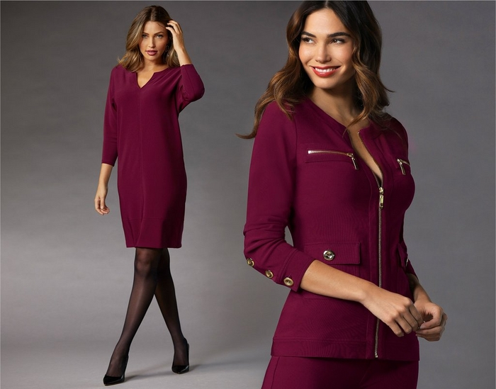 left model wearing wine colored shift dress with tights. right model wearing wine colored warm up