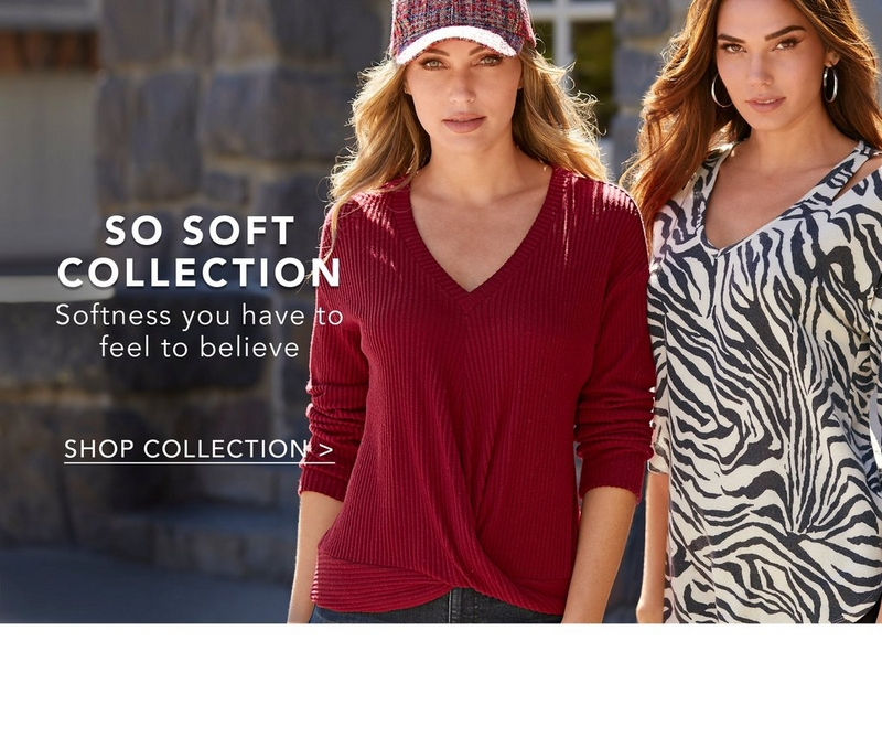 left model wearing red ribbed top over jeans and a plaid cap. right model wearing zebra print top over black jeans