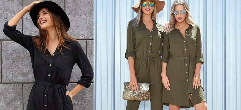 left model wearing black button up dress with black hat. right models wearing olive jumpsuit and olive button up dress
