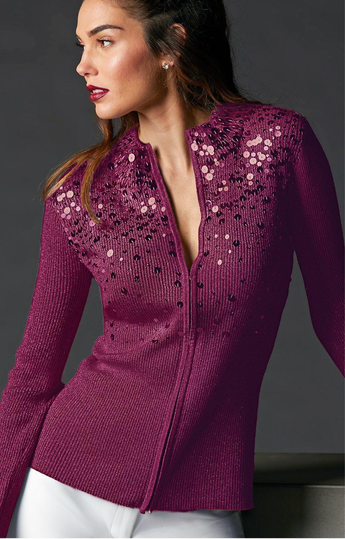 model wearing sequined zip up cardigan in purple