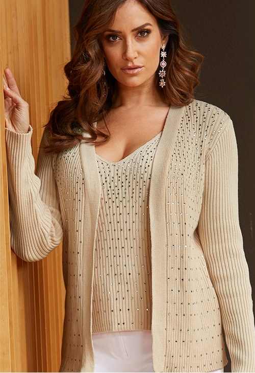 model wearing sequin studded tan tank top over a sequin studded tan cardigan