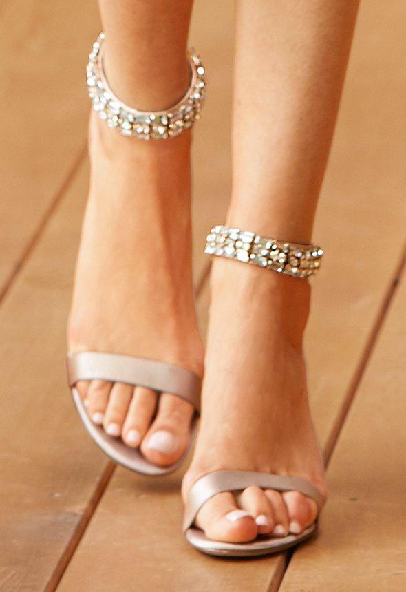 embellished gold heels